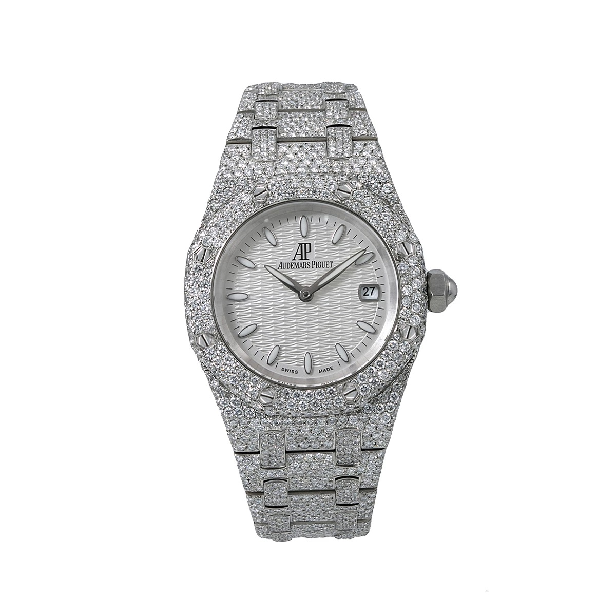 White Dial 33mm Audemars Piguet Royal Oak Ladies Diamond Watch 11.75ct Main Image