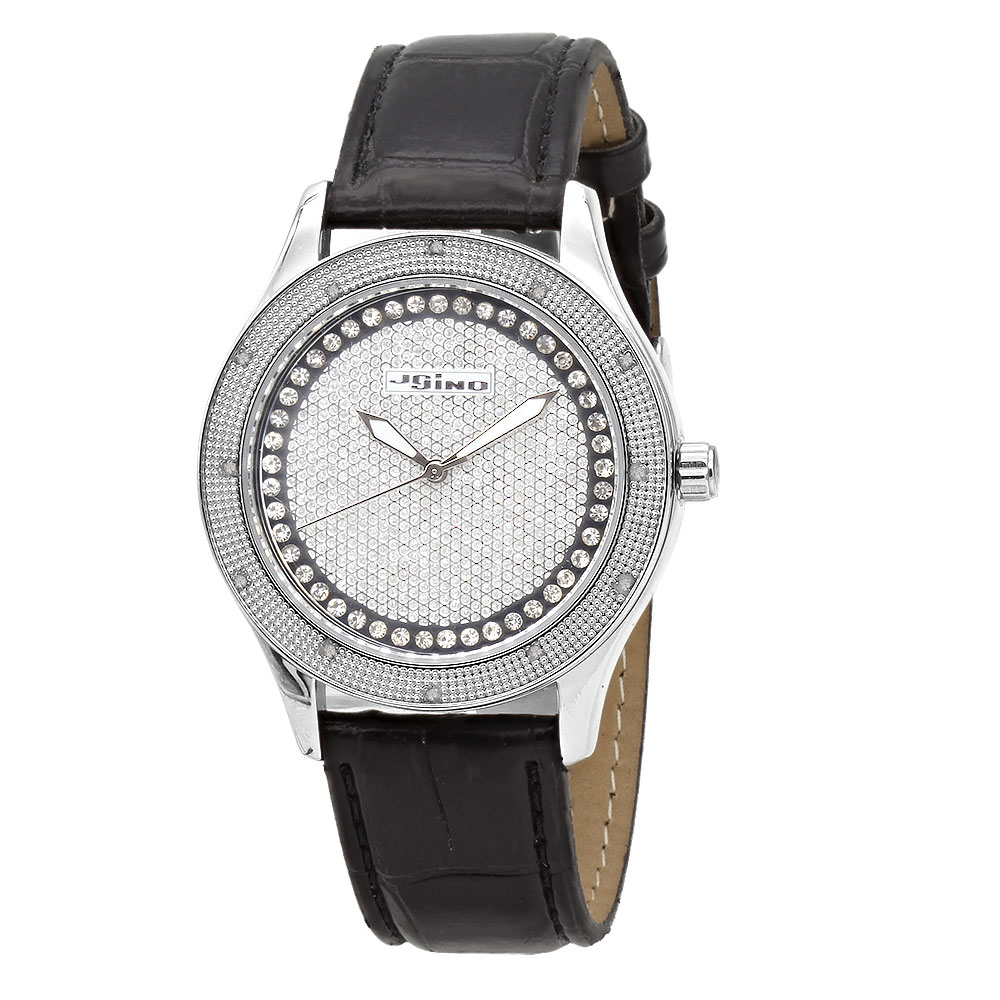 White JoJino Diamond Watch for Women Black Leather Band 0.12ct Iced Out Dial Main Image