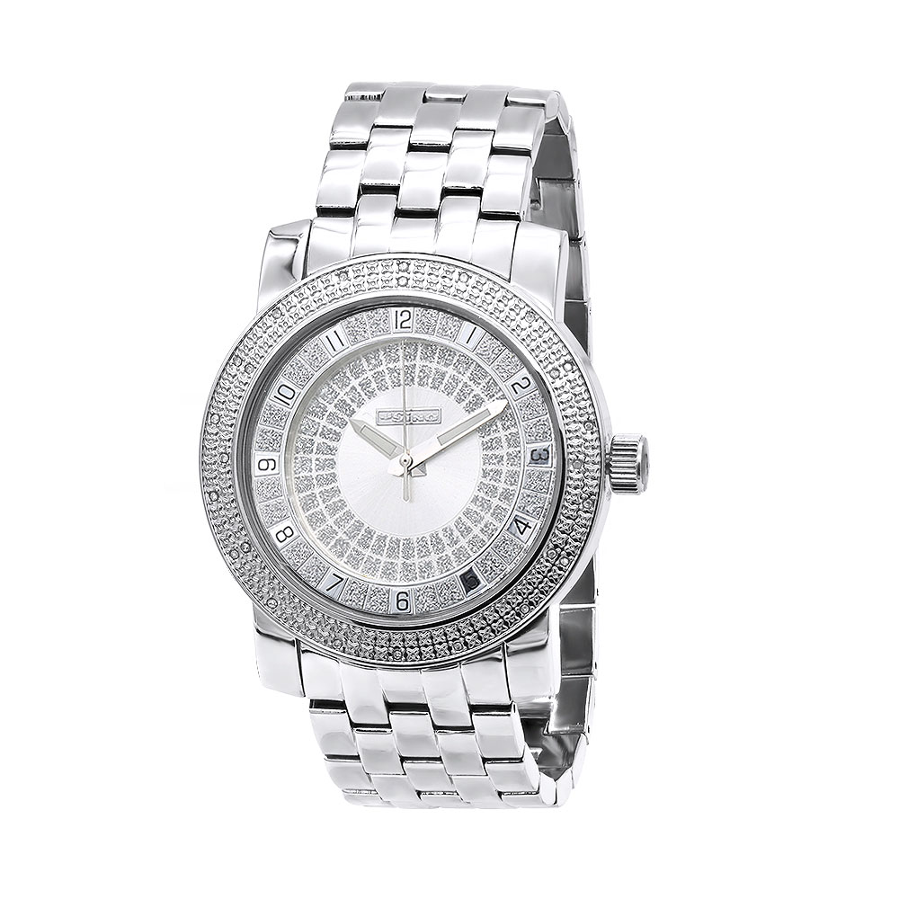 White JoJino Large Mens Diamond Watch 0.25ct Silver Dial Stainless Steel Band Main Image