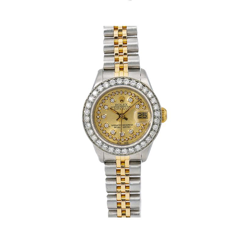 Womens Diamond Rolex Datejust Watch 26mm Champagne Dial Two Tone Jubilee Bracelet Main Image