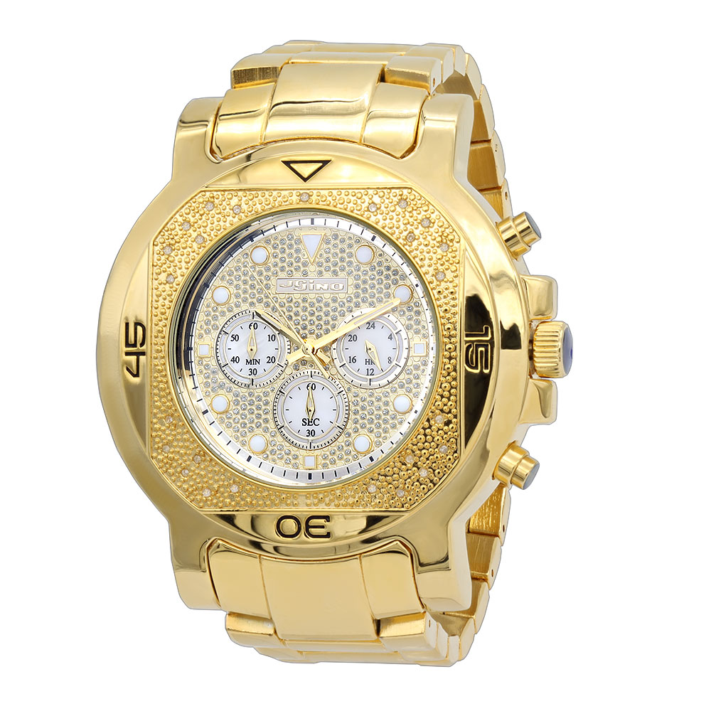 Yellow Gold Pltd JoJino Diamond Watch for Men 0.25ctw Iced Out Dial Main Image