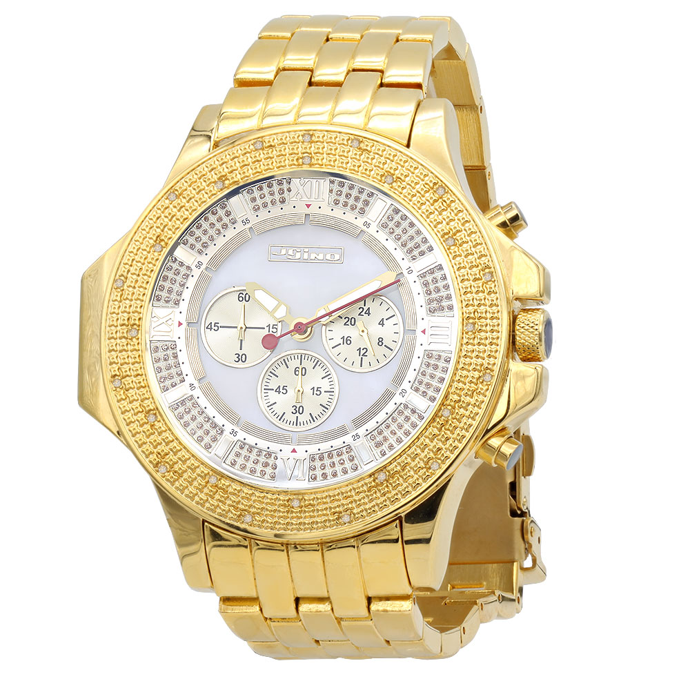 Yellow JoJino Chronograph Large Men's Diamond Watch 0.25ct White MOP Dial & Subdials Main Image