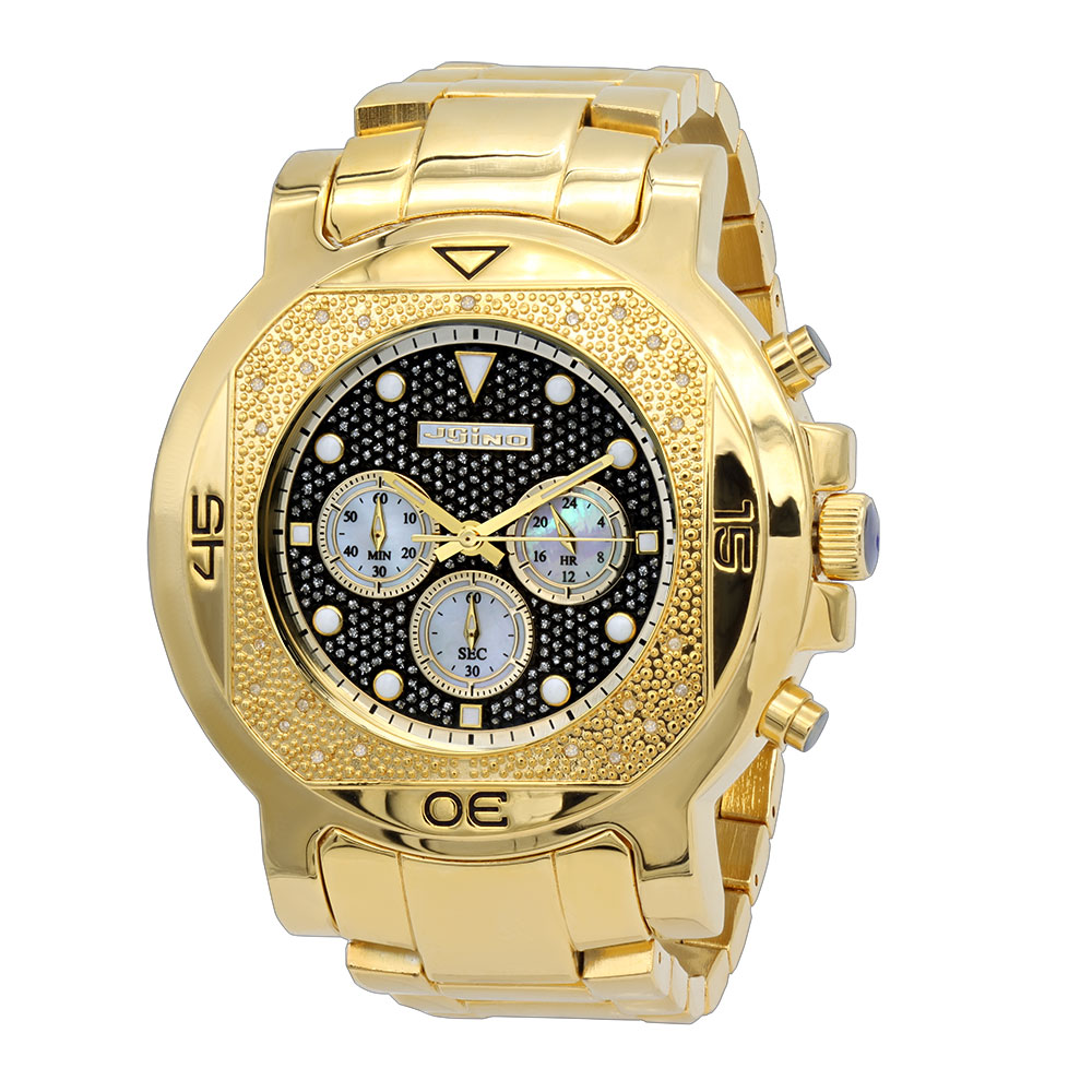 Yellow JoJino Chronograph Large Mens Diamond Watch Iced Out Black Dial 0.25ct Main Image