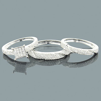 Wedding Ring Sets: Trio Diamond Ring Set 0.91ct 10K Main Image