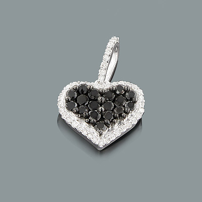 White and Black Diamond Heart Pendant 0.59ct Sterling Silver