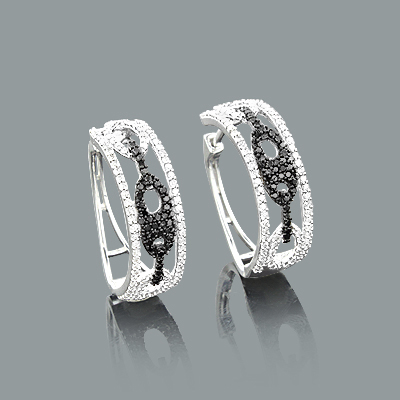 White and Black Diamond Hoop Earrings Gucci Link Design 0.82ct 14K Gold Main Image