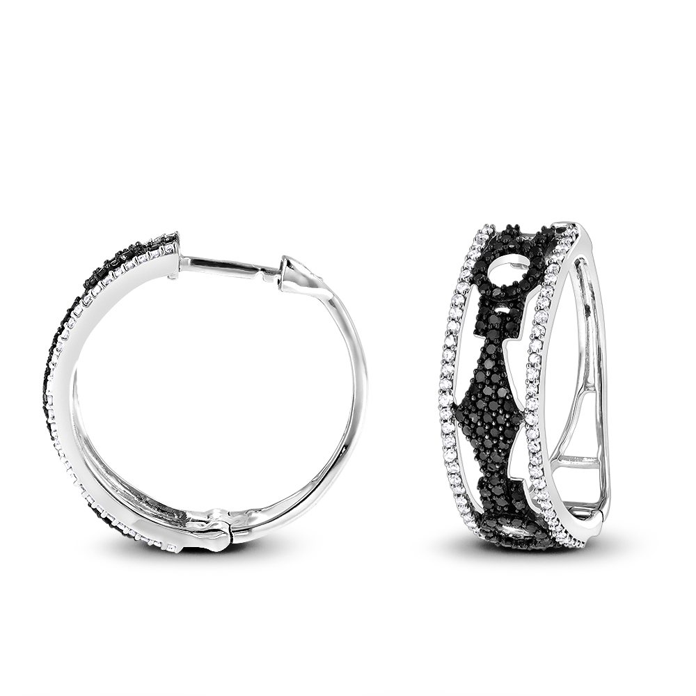 White and Black Diamond Hoop Earrings 0.9 ct 14K Gold White Image
