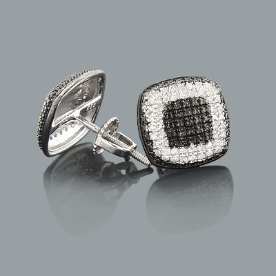 White and Black Diamond Stud Earrings 0.22ct Sterling Silver
