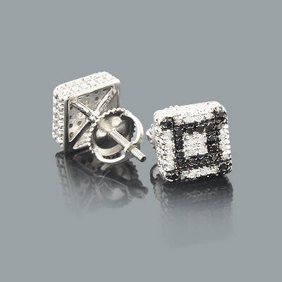 White and Black Diamond Stud Earrings 0.45ct Silver Main Image