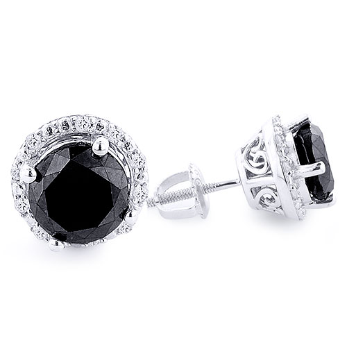 dp com diamond ac white stud black earrings ct jewelry amazon gold