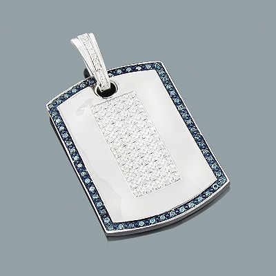 White and Blue Diamond Dog Tag Pendant 1.27ct Sterling Silver Main Image