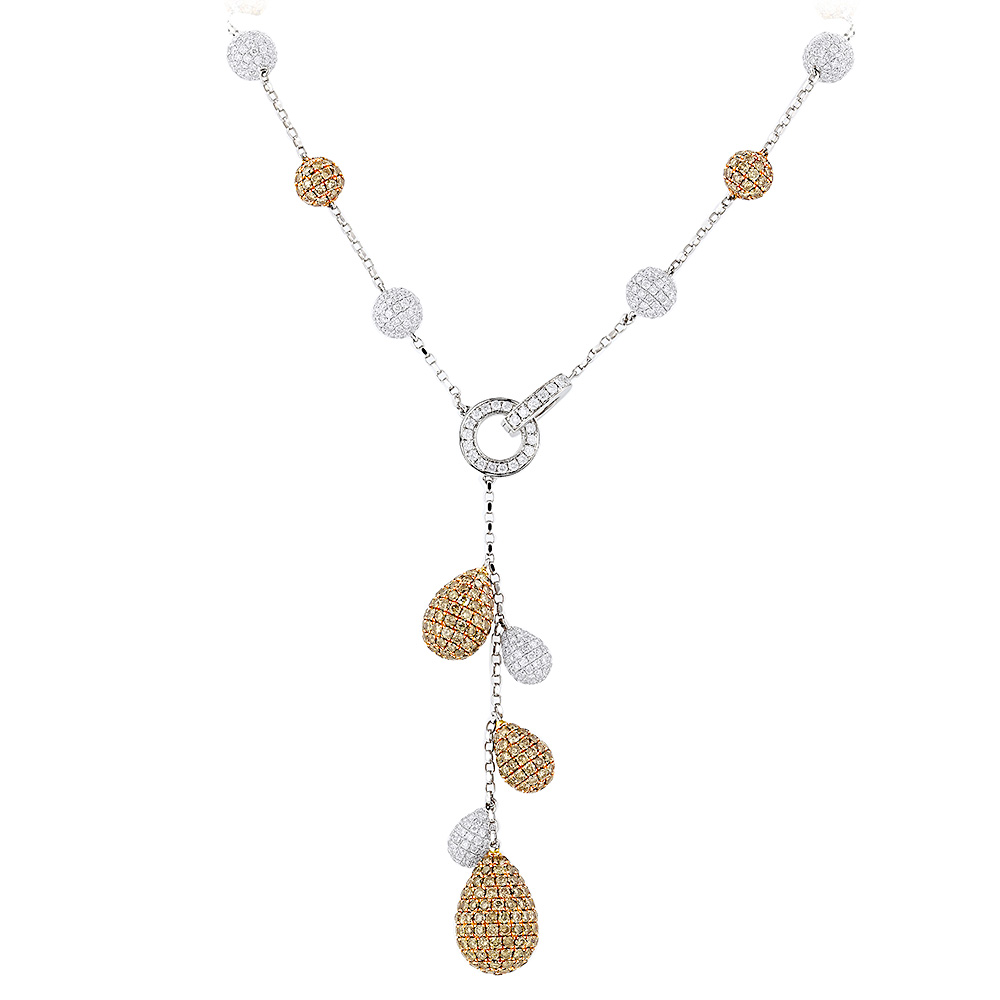 Unique White and Champagne Diamond Necklace for Women 23.9ct 14K Gold Main Image