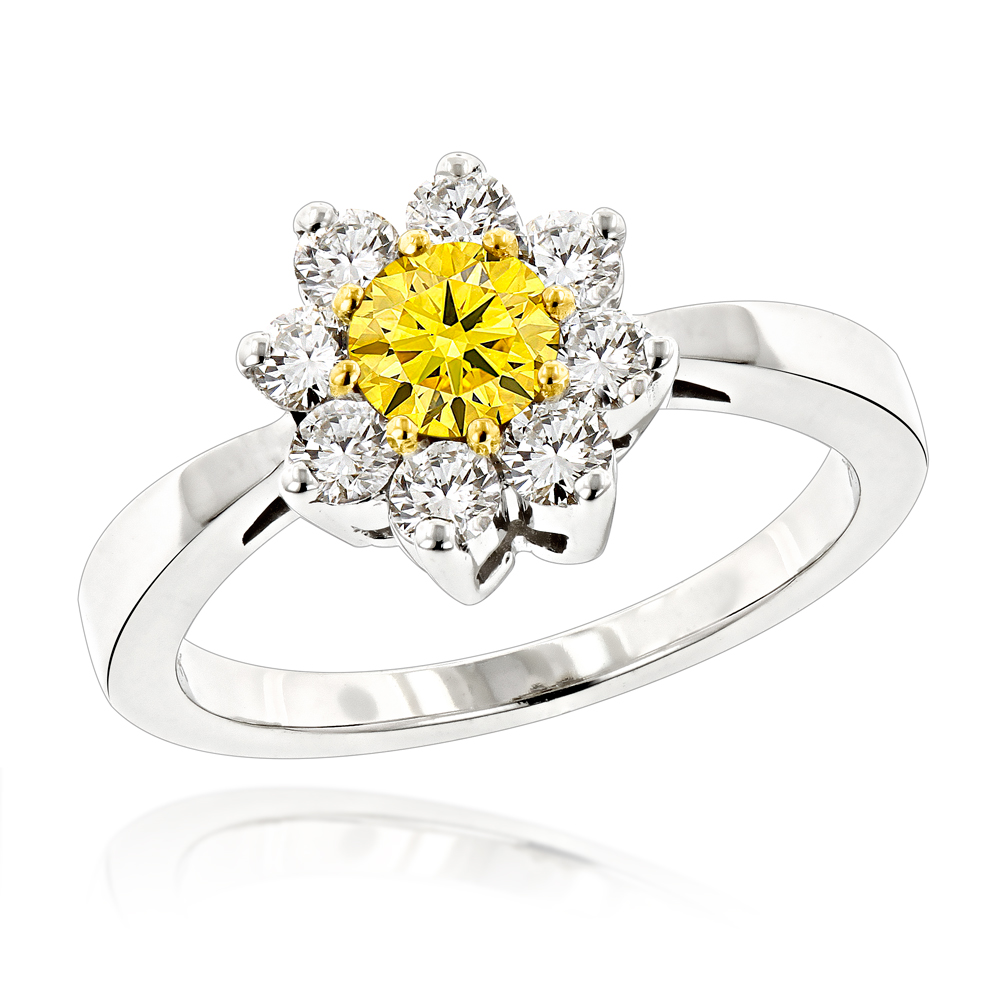 White and Yellow Diamond Cluster Rings for Women: 14K Gold Daisy Ring 1.2ct White Image