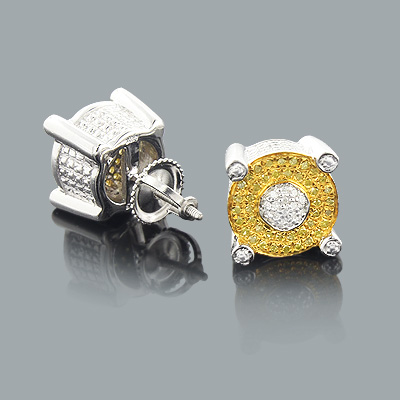 White and Yellow Diamond Earrings 0.33ct Sterling Silver Jewelry