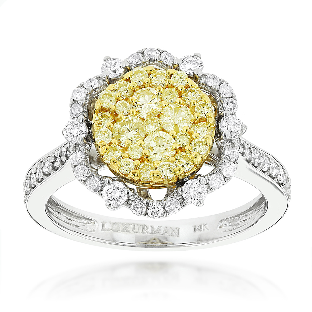 White and  Yellow Diamond Flower Ladies Ring by Luxurman 14K Gold 1.2ct  White Image