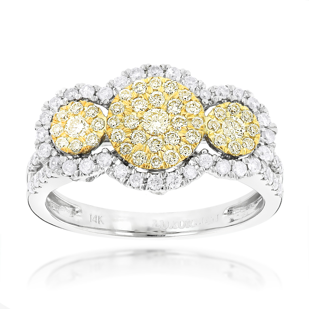 White and Yellow Diamonds Right Hand Ring for Women Cluster Design 14k Gold White Image