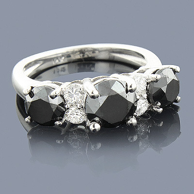 White Black Diamond Engagement Ring 2.70ct Main Image