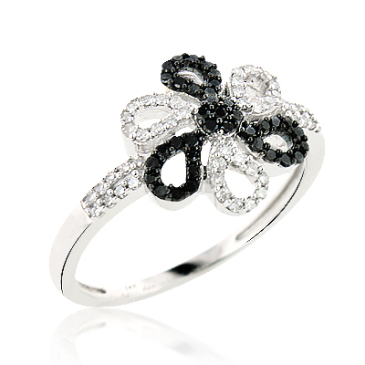 White Black Diamond Flower Ring 0.31ct 14K Gold white-black-diamond-flower-ring-031ct-14k-gold_1