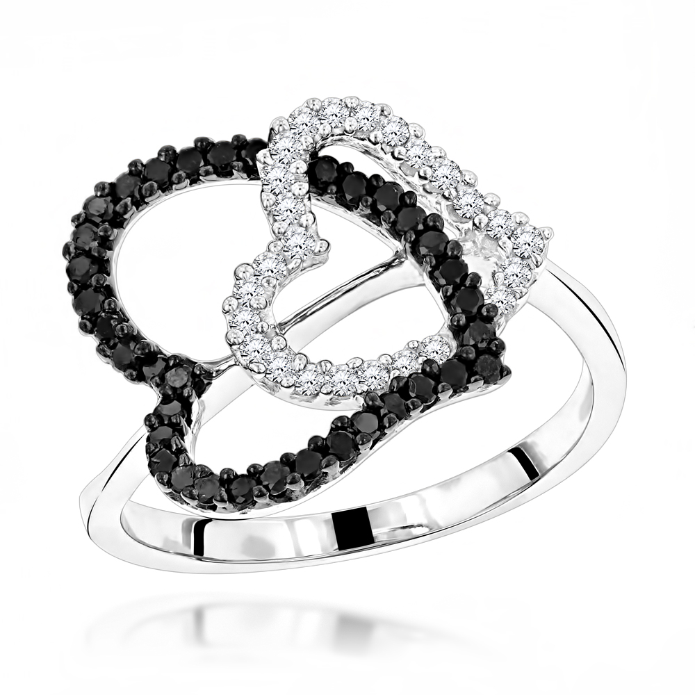 White Black Diamond Heart Ring 0.40ct 14K White Image