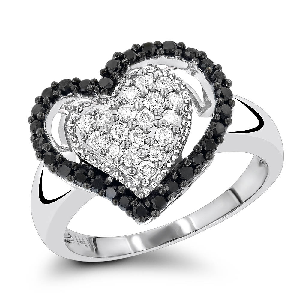 White Black Diamond Heart Ring for Women 0.7ct 14K Gold White Image