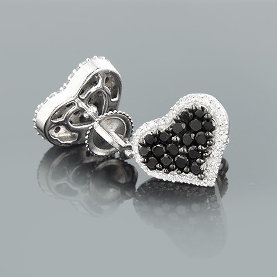 White Black Diamond Heart Stud Earrings 1.11ct Sterling Silver