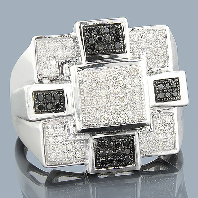 White Black Diamond Mens Ring 10K 0.58ct