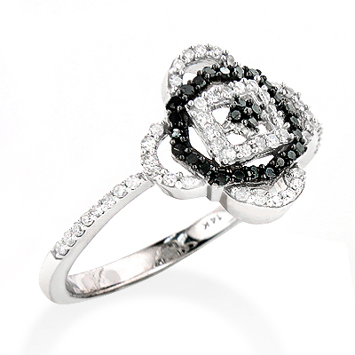 White Black Diamond Ring for Ladies 0.31ct 14K Gold white-black-diamond-ring-for-ladies-031ct-14k-gold_1