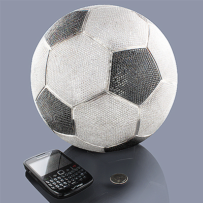 White Black Diamond Soccer Ball Life-Size 1400ct 14K main