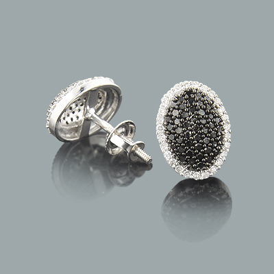 White Black Diamond Stud Earrings Pave Style 0.51ct 14K white-black-diamond-stud-earrings-pave-style-051ct-14k_1