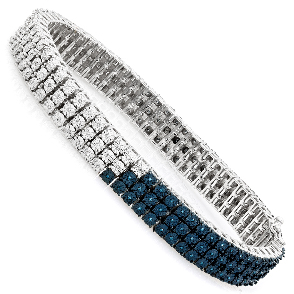 White Blue Diamond Bracelet for Men 0.50ct Sterling Silver Main Image