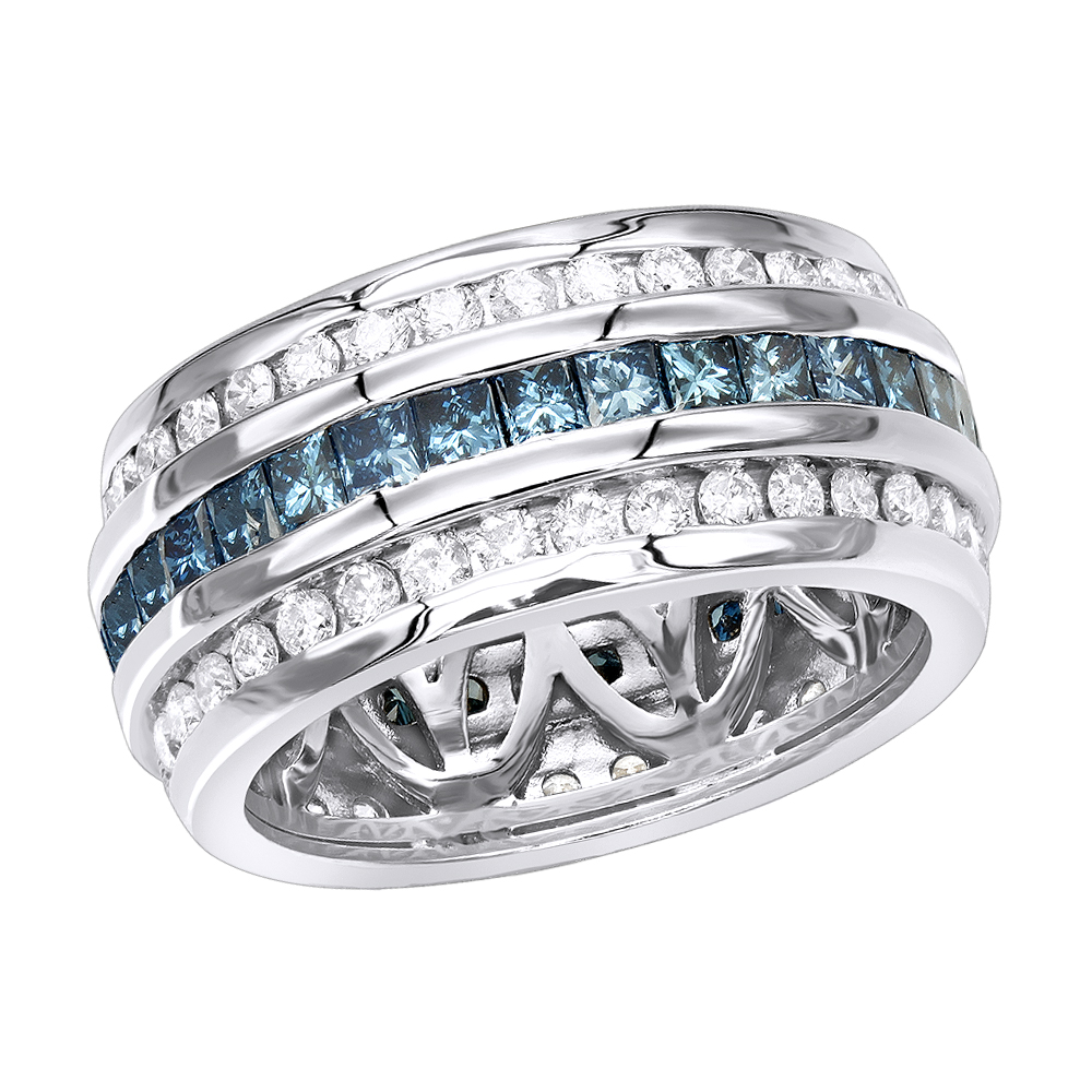 White Blue Diamond Eternity Ring 2.64ct 14K Gold White Image