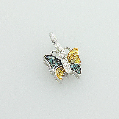 White Blue Yellow Diamond Butterfly Pendant 0.26ct in 10K Gold Main Image