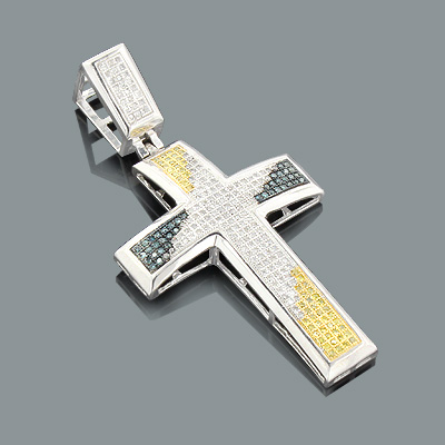 White Blue Yellow Diamond Cross Pendant 0.80ct Sterling Silver Main Image