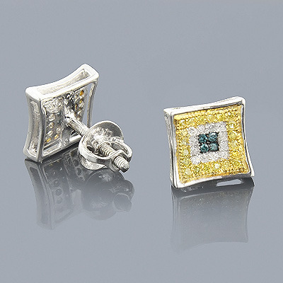 White Blue Yellow Diamond Earrings 0.35 Sterling Silver Main Image