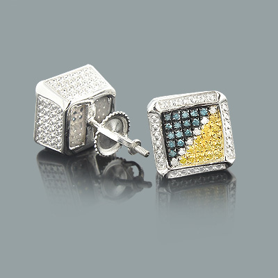White Blue Yellow Diamond Earrings 0.50ct Sterling Silver White Blue Yellow Diamond Earrings 0.50ct Sterling Silver