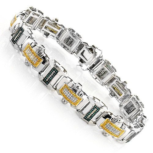 White Blue Yellow Diamond Mens Bracelet 2.75 ct Silver white-blue-yellow-diamond-mens-bracelet-275-ct-silver_1