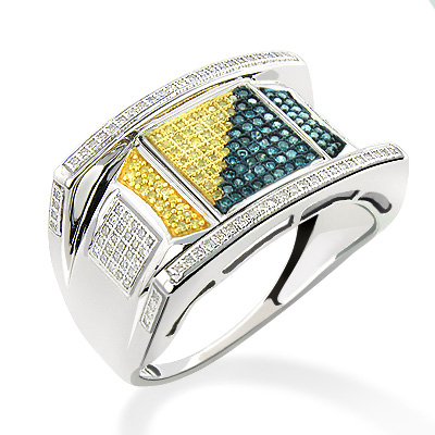 White Blue Yellow Diamond Ring for Men 0.60ct Sterling Silver white-blue-yellow-diamond-ring-for-men-060ct-sterling-silver_1