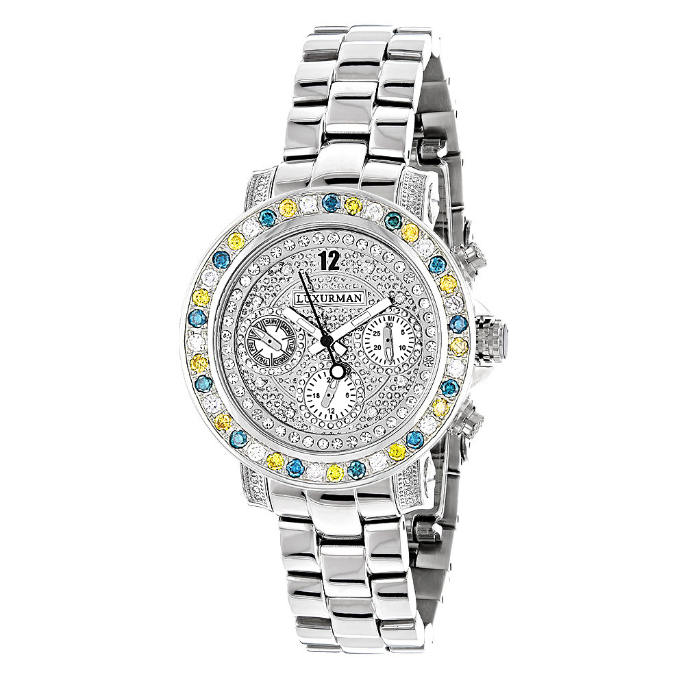 White Blue Yellow Diamond Watch by LUXURMAN 2.75ct Ladies Main Image