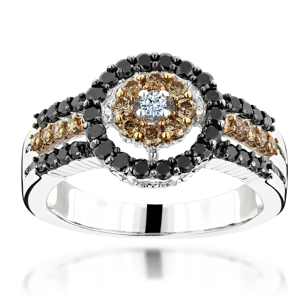 White Brown Black Diamond Ring 0.94ct 14K Gold Womens Jewelry  White Image
