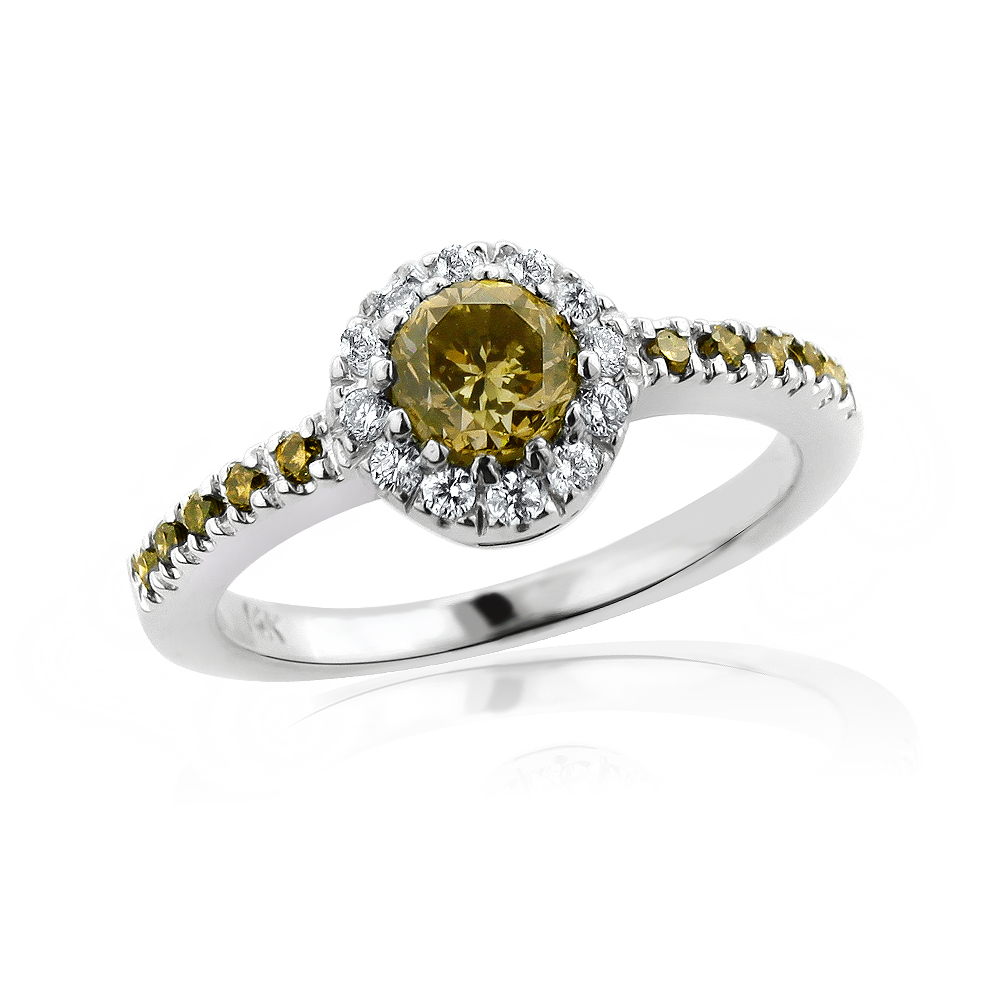 Ultra Thin White Brown Diamond Engagement Ring 14K Gold 0.72ct Halo white-brown-diamond-engagement-ring-14k-gold-072ct-halo_1