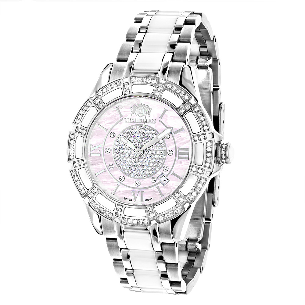 White Ceramic Womens Diamond Watch 1.25ct Pink MOP Luxurman Galaxy Main Image