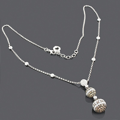 White Champagne Diamond Ball Necklace 4.28 14K
