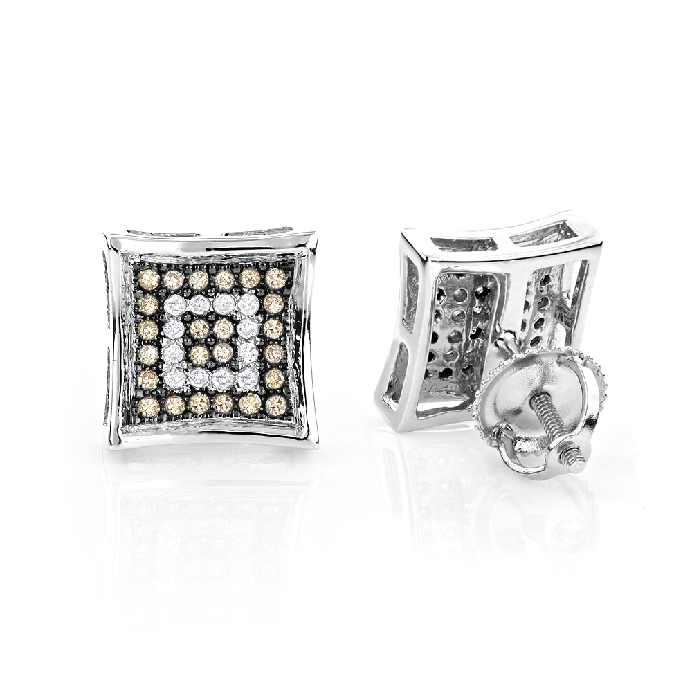 White Champagne Diamond Earrings In Sterling Silver Pave
