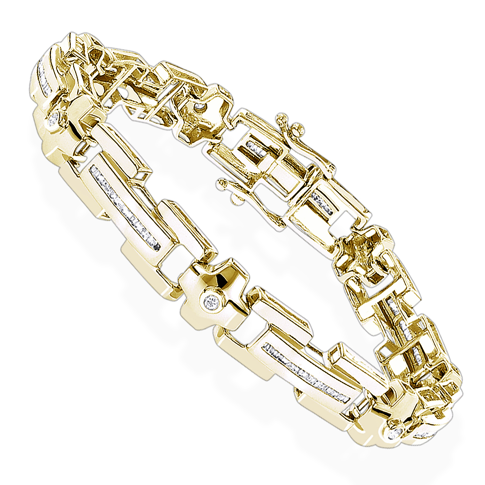 14k Gold Mens Diamond Bracelets Collection Piece 1.95ct Yellow Image