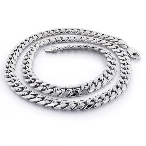 White Gold Miami Cuban Link Curb Chain 10K 22-40in 9mm