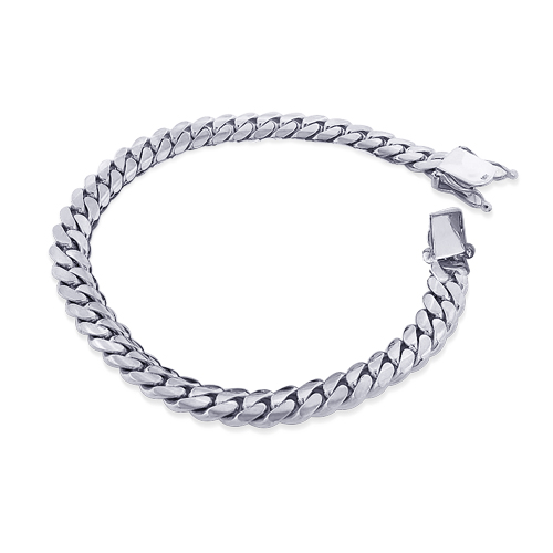 White Gold Miami Cuban Link Curb Chain Bracelet 14K 3mm 7.5-9in