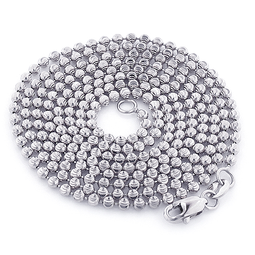 White Gold Moon Cut Bead Chain 10K 2mm; 22-40in Main Image