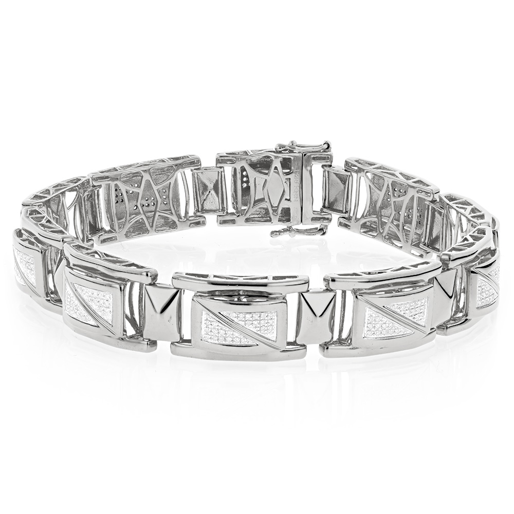 White Gold Plated Sterling Silver Diamond Bracelet for Men 0.9ct Main Image