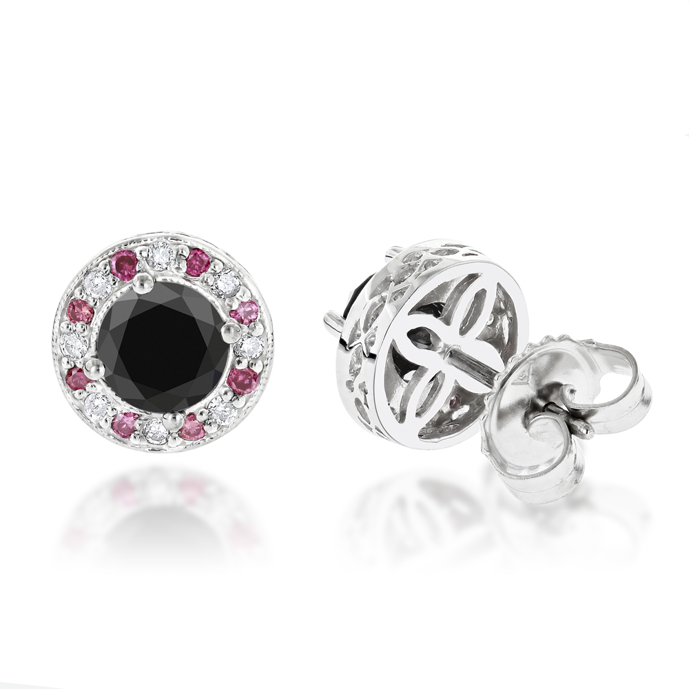 White Pink and Black Diamond Stud Earrings 2.2ct 14K Gold White Image