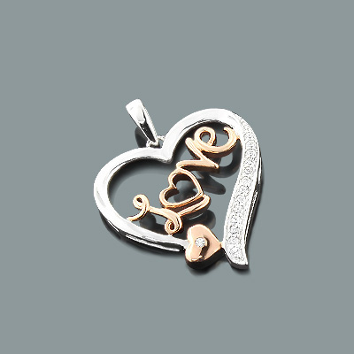 White Rose Gold Diamond Love Heart Pendant 0.11ct 10K Main Image